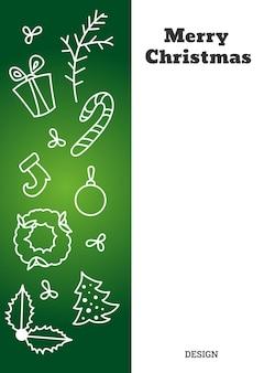 Vertikale weihnachtskarte mit konturfiguren von lebkuchenweihnachtsbäume usw. vektor