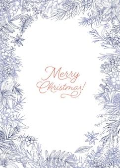 Vertikale weihnachtspostkartenschablone verziert durch rahmen aus zweigen und kegeln von nadelbäumen