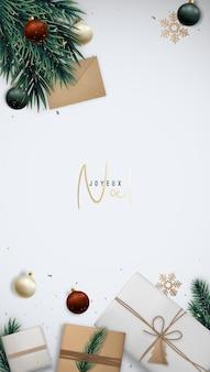 Vertikale weihnachtsschablone mit geschenkboxen-tannenbaumzweigen