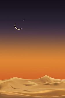 Vertikale wüstenlandschaft mit sanddünen mit halbmond und stern in der dunklen nacht