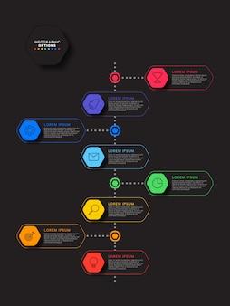 Vertikale zeitleiste infografik mit sechseckigen elementen auf schwarz
