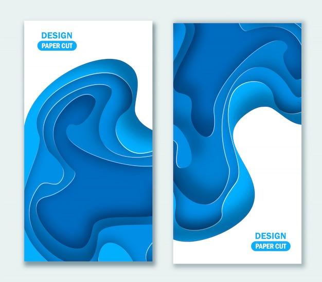 Vertikaler abstrakter blauer hintergrund mit papierschnittformen