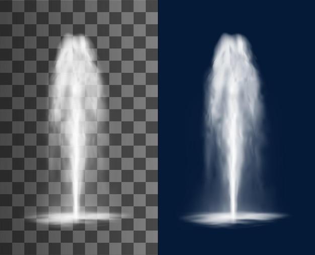 Vertikaler brunnen mit kaskade von wasserstrahlen und spritzern, vektor isolierte realistische 3d auf transparentem hintergrund. wasserfallstrahl von springbrunnenwasserstrahlen oder geysir- und aquaquellausbruch