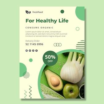 Vertikaler flyer für bio- und gesunde lebensmittel