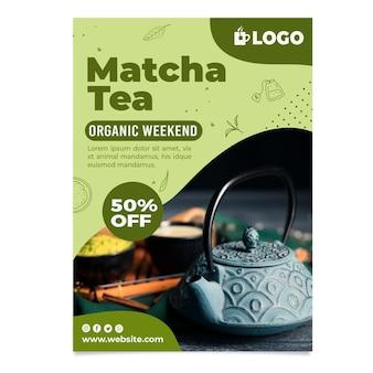 Vertikaler flyer für matcha-tee mit rabatt