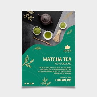 Vertikaler flyer für matcha-tee