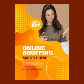Vertikaler flyer für online-einkäufe