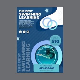 Vertikaler flyer für schwimmunterricht