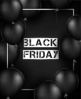 Vertikaler hintergrund des schwarzen freitags. schwarze luftballons, rahmen, konfetti, dekorationen. .