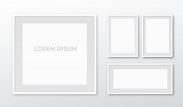 Vertikaler leerer bilderrahmen a3, a4 für fotos aus echtem papier oder weißem plastikbilderrahmen mit breiten schattenrändern.