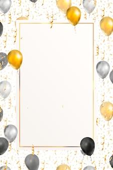 Vertikaler luxushintergrund mit hellgoldenem serpentin, konfetti und luftballons