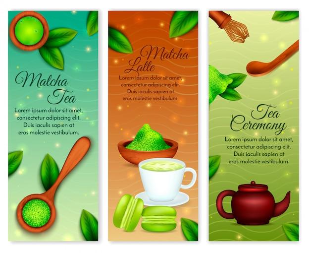 Vertikaler realistischer grüner erdton matcha-pulvers mit latte-teezeremonie-bonbonzubehör