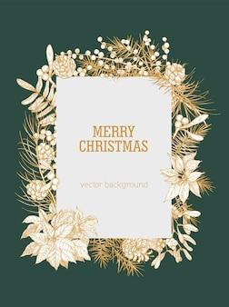 Vertikaler weihnachtshintergrund, verziert durch zweige und zapfen von nadelbäumen, beeren und blättern