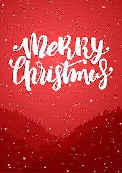 Vertikaler winterhintergrund mit waldhügeln und handbeschriftung der schneelandschaft der frohen weihnachten