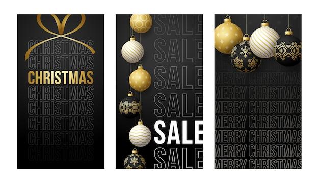 Vertikales banner der frohen weihnachten für geschichten. goldener satz von weihnachtsmotiv-social-media-geschichtenbeitrag, realistische schwarzweiss-kugelkugel-bannerabdeckungsrahmenvorlage 3d