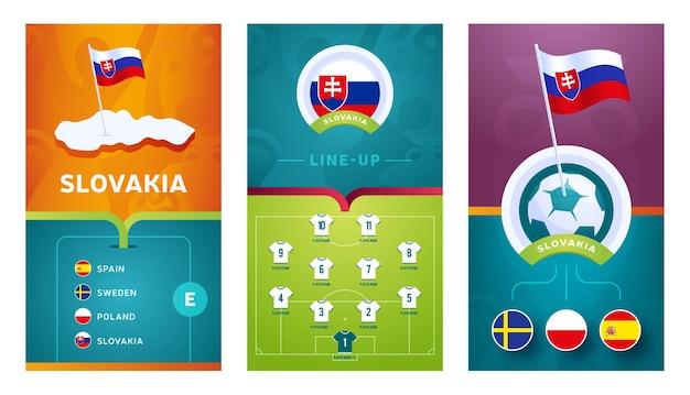 Vertikales banner des europäischen fußballs der slowakei für soziale medien. banner der slowakischen gruppe e mit isometrischer karte, stecknadel, spielplan und aufstellung auf dem fußballplatz