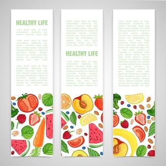 Vertikales banner des schablonendesigns mit dem dekor der frucht.