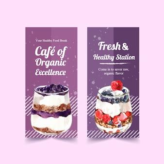 Vertikales banner-schablonendesign der gesunden und organischen nahrung