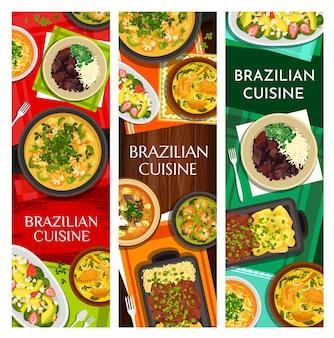 Vertikales bannerset der brasilianischen küchenmahlzeiten