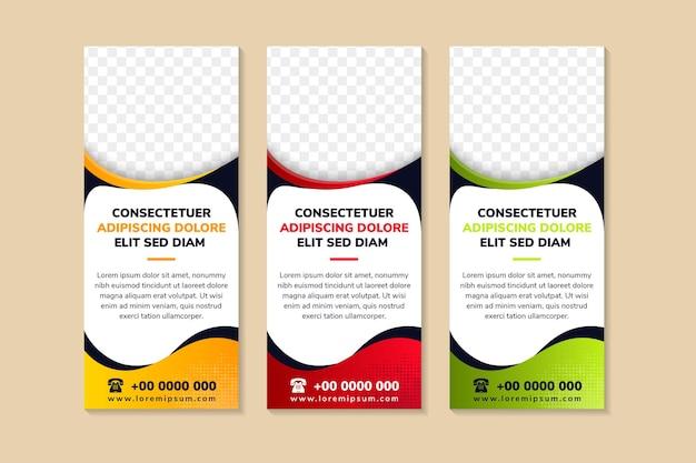 Vertikales bannerständer-vorlagendesign fließender geometrischer verlauf für minimale banner-broschüren-flyer