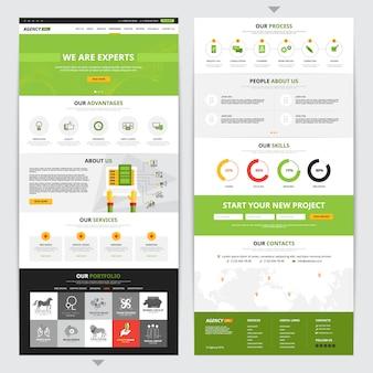 Vertikales design der webseite mit neuen projektsymbolen gesetzt