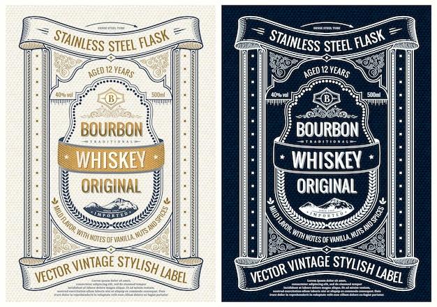 Vertikales etikett für flaschenverpackungen oder bucheinbandrahmendesign