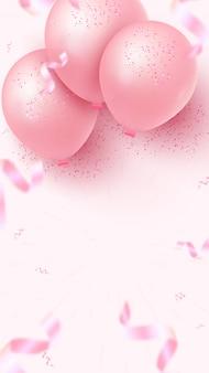 Vertikales feiertagsfahnenentwurf mit rosa luftballons, fallendem folienkonfetti und leerem raum für ihre kreativität auf rosigem hintergrund. frauentag, muttertag, geburtstag, hochzeit, jubiläumsschablone