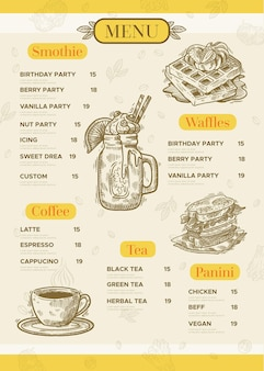 Vertikales format des digitalen restaurantmenüs