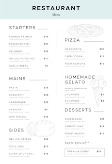 Vertikales formatdesign des digitalen restaurantmenüs