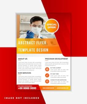 Vertikales layout der flyer-design-vorlage für mehrzweckprodukt diagonale form für den raum