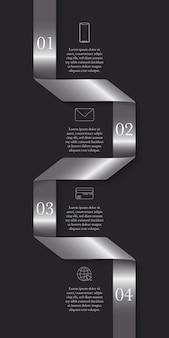 Vertikales modernes zeitleisten-infografik-bandkonzept mit 4 schritten und platz für text