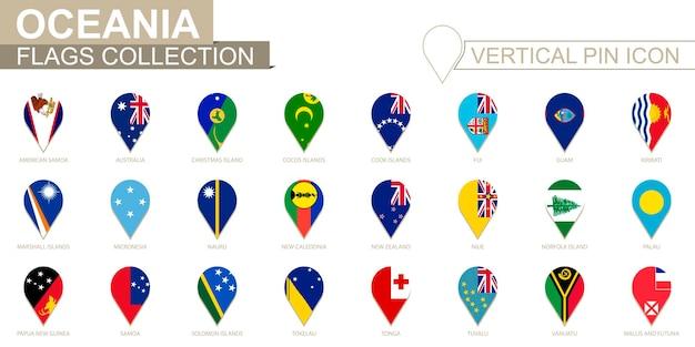 Vertikales pin-symbol, ozeanien-flaggensammlung.