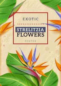Vertikales plakat der realistischen exotischen blumen