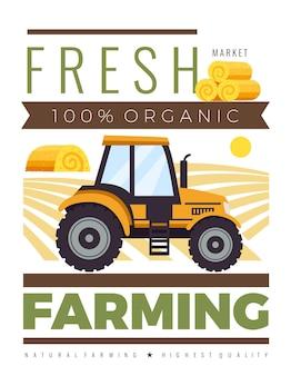 Vertikales poster für den bauernhofmarkt mit der komposition eines bearbeitbaren textbildes von agromotor- und heufeldlandschaften
