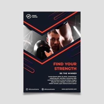 Vertikales poster mit farbverlaufssport mit männlichem boxer