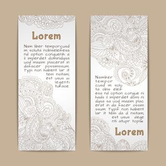 Vertikalsatz der dekorativen fahnen der weinlesespitze lokalisiert