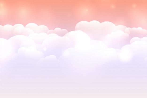 Verträumter wolkenhintergrund mit pastellfarbenem himmel