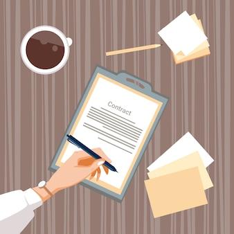 Vertrag unterzeichnen papierdokument