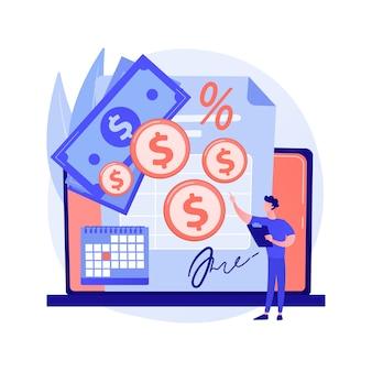 Vertragsabrechnung, erfüllung der geschäftsbedingungen, erfolgreiche transaktion. geldtransfer für miete, leasingzahlung. zeichentrickfiguren für zahler und geldempfänger