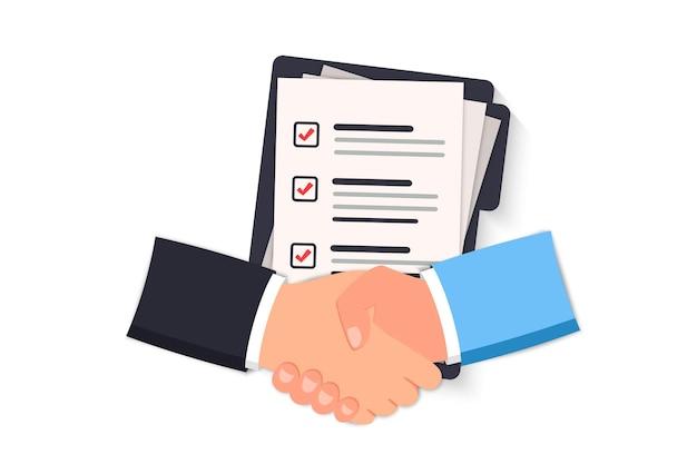 Vertragsabschluss per handschlag. zwei hände machen einen händedruck, geschäftskonzept. vertragsabschluss, genehmigung der unterlagen. händeschütteln. vertragsunterlagen, dokumente