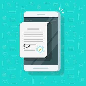 Vertragsdokument mit zeichen am handy oder vereinbarung über flache karikatur der mobiltelefonillustration