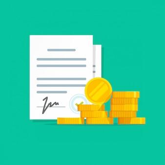 Vertragserfolgsvertrag oder darlehensgeld unterzeichnetes vertragsdokument