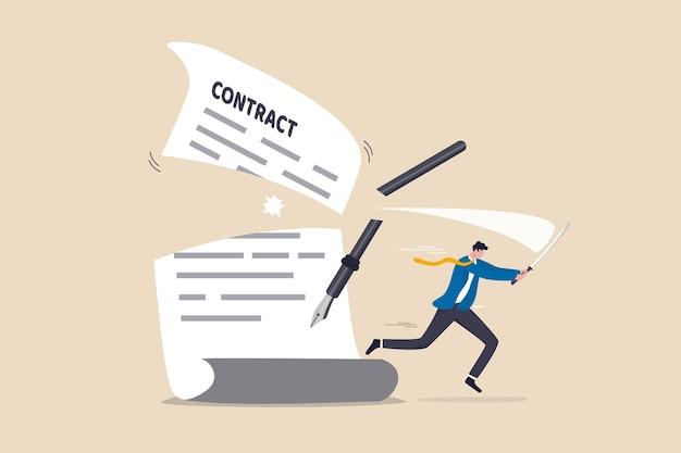 Vertragsstornierung oder vereinbarung gekündigt, partnerschaftsbruch unterzeichneter geschäftsvertrag, verhaltenskodex-fehlerkonzept, selbstbewusster geschäftsmann, der ein schwert verwendet, um das vertragsdokument der vereinbarung auseinander zu schneiden.