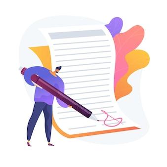 Vertragsunterzeichnung. geschäftsbestätigung, offizielle unterschrift des dokuments, geschäftsauszug. büroangestellte machen papierkram, bürokratie und formalitäten idee.