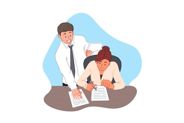 Vertragsunterzeichnung, vereinbarung, büroschreibarbeit, geschäft und finanzkonzept