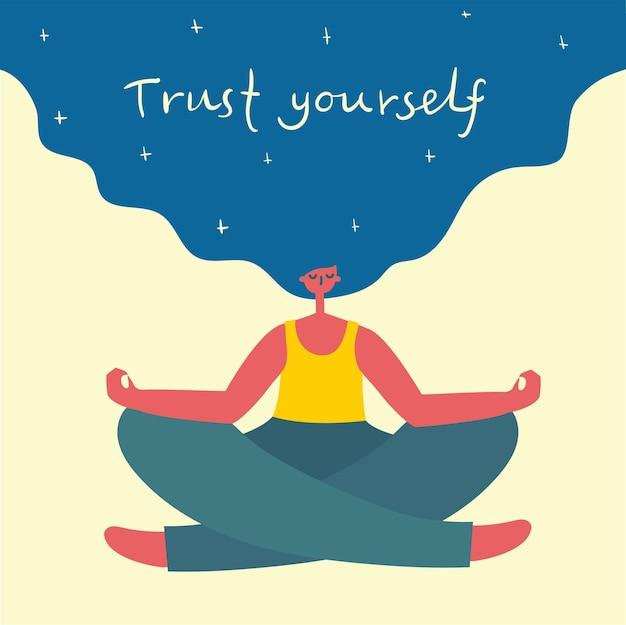 Vertraue dir selbst. dich selbst lieben. vektor-lifestyle-konzeptkarte mit text vergessen sie nicht, sich im flachen stil zu lieben