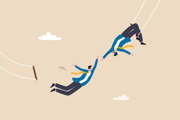 Vertrauen, partnerschaft und unterstützung für den erfolg bei der arbeit, zusammenarbeit oder zusammenarbeit, teamarbeit, risikobereitschaft, einheit oder hilfe beim erreichen des zielkonzepts, geschäftsmanntrapez führt springen und fangen durch den partner durch.