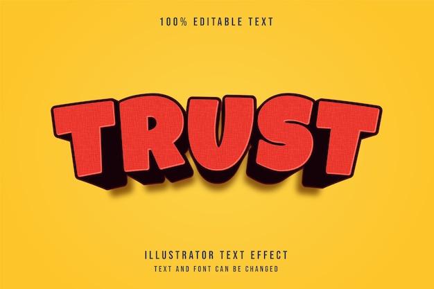 Vertrauen, redigierbarer 3d-texteffekt des roten modernen schatten-comic-stils