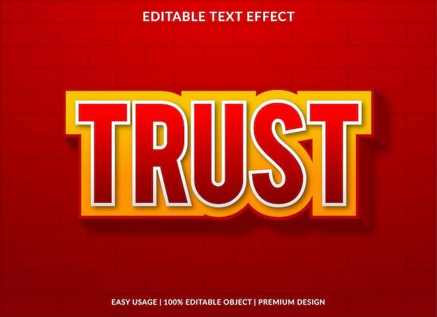 Vertrauen sie dem bearbeitbaren texteffekt mit modernem und abstraktem stil