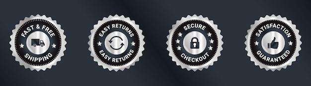 Vertrauensabzeichen design zufriedenheit garantiert design versandkostenfrei